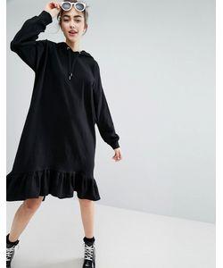 Monki | Платье-Худи С Оборкой По Краю