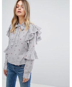 Vero Moda | Блузка В Полоску С Цветочным Принтом И Оборками На Рукавах Vero