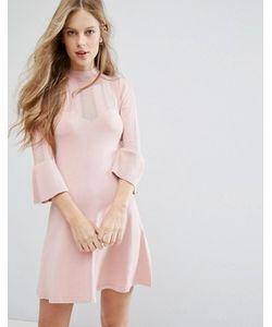 Miss Selfridge | Платье С Расклешенными Рукавами И Ажурной Отделкой