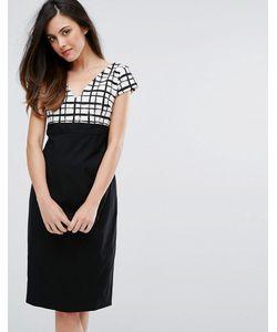 Vesper | Платье-Футляр С Решетчатым Принтом И Контрастной Юбкой