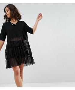Noisy May Petite | Кружевное Платье С Коротким Рукавом
