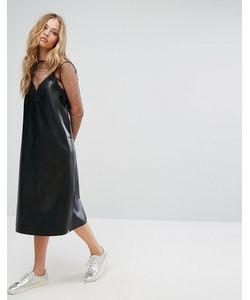 Suncoo | Платье Из Искусственной Кожи С Кружевной Отделкой