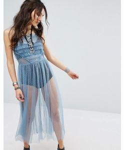 Glamorous | Прозрачное Платье Миди С Ярусными Оборками