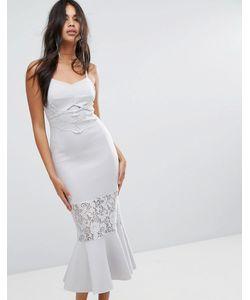 Asos | Облегающее Платье Миди С Кружевными Вставками