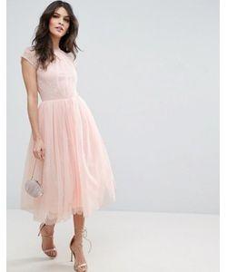 Asos   Платье Миди Для Выпускного Из Кружевного Тюля Premium