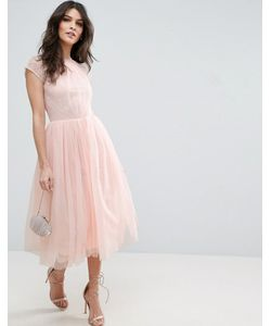 Asos | Платье Миди Для Выпускного Из Кружевного Тюля Premium