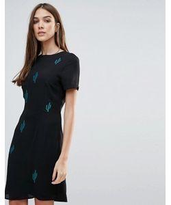 Liquorish | Платье Мини С Вышитыми Кактусами