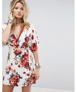 Honey Punch | Платье С Принтом Роз Запахом И Широкими Рукавами