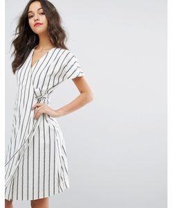 Vero Moda | Чайное Платье В Полоску С Запахом