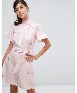 Closet London | Платье С Принтом Высоким Воротником И Поясом