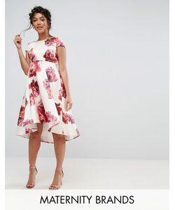 Chi Chi Maternity | Платье Миди С Цветочным Принтом И Асимметричным Краем Chi Chi London