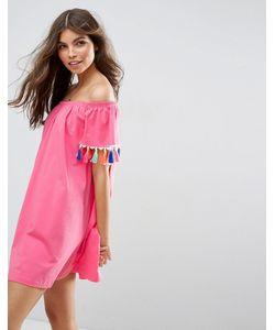 Asos | Платье С Открытыми Плечами И Разноцветными Кисточками