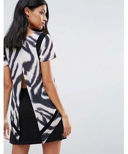 Liquorish | Zebra Print Split Back T Shirt