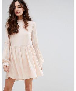 Fashion Union | Свободное Платье С Высоким Воротником И Присборенной Отделкой