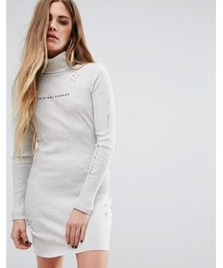 Criminal Damage   Платье Мини С Высокой Горловиной Потертостями И Логотипом