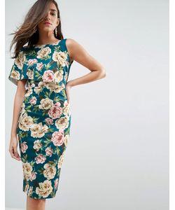 Asos | Асимметричное Облегающее Платье Миди На Одно Плечо С Цветочным Принтом