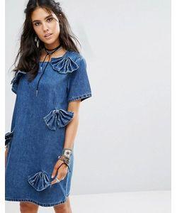 Glamorous | Джинсовое Цельнокройное Платье С Бантиками