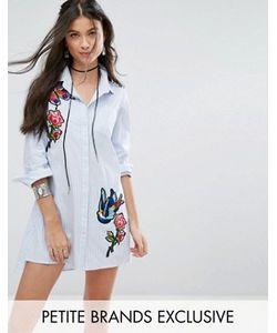 Glamorous Petite   Платье-Рубашка В Тонкую Полоску С Вышивкой
