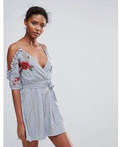 Parisian | Короткое Приталенное Платье В Полоску С Вырезами На Плечах И Вышитыми