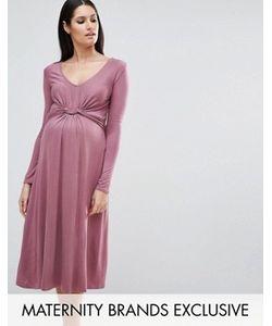 Bluebelle Maternity | Платье Миди С Длинными Рукавами И Узлом Спереди
