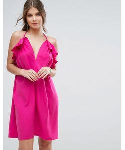 boohoo | Платье С Глубоким Вырезом Рюшами И Завязкой На Шее