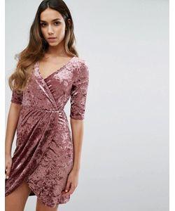 Club L | Бархатное Платье С Запахом Спереди