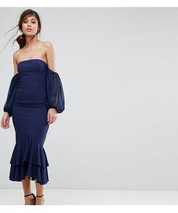 JARLO | Платье Миди С Открытыми Плечами И Оборкой
