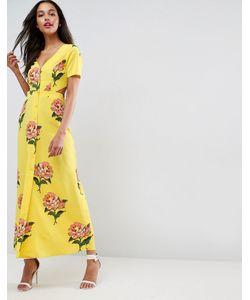 Asos | Чайное Платье Макси С Цветочным Принтом И Открытой Спиной
