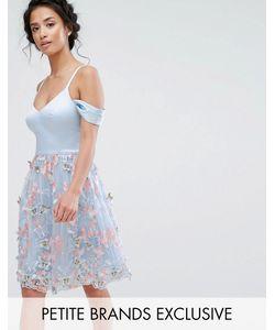Chi Chi Petite   Короткое Приталенное Платье С Открытыми Плечами И 3d Вышивкой Chi Chi