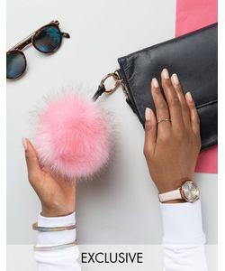 My Accessories | Faux Fur Pom Keyring In Bubblegum