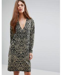 Ganni | Платье С Длинными Рукавами И Блестящим Принтом Schiffer