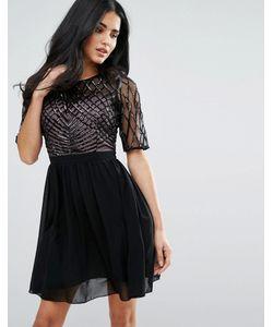 Little Mistress | Короткое Приталенное Платье С Декорированным Лифом