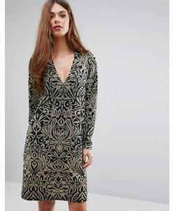 Ganni   Платье С Длинными Рукавами И Блестящим Принтом Schiffer
