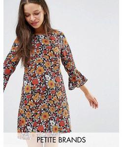Yumi Petite | Цельнокройное Платье С Цветочным Принтом И Оборками На Рукавах