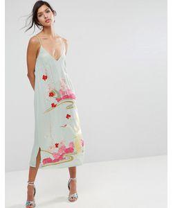 Asos   Платье-Комбинация С Цветочной Вышивкой Premium