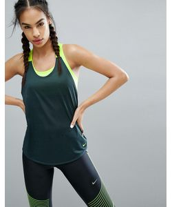 Nike | Темно-Зеленая Эластичная Майка