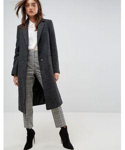 Asos | Приталенное Пальто С Добавлением Шерсти