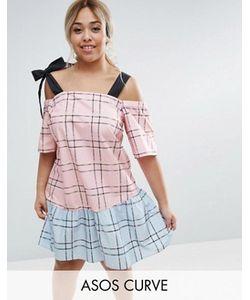 ASOS CURVE | Check Mix And Match Cold Shoulder Cotton Dress