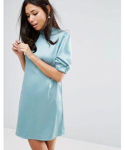 Fashion Union | Атласное Платье С Высокой Горловиной