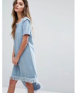Only | Джинсовое Платье Асимметричной Длины С Необработанными Краями