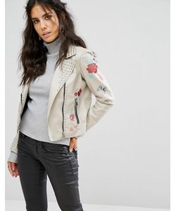 Glamorous | Байкерская Куртка Из Искусственной Кожи С Вышивкой И Заклепками