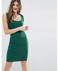 Asos | Короткое Облегающее Платье В Рубчик С Завязывающимися Бретельками