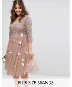 Lovedrobe Luxe | Платье Миди С Рукавами 3/4 V-Образным Вырезом И Отделкой Пайетками Lovedrobe