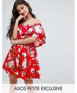 ASOS PETITE | Платье Мини С Оборками И Цветочным Принтом