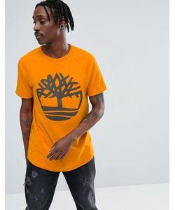 Timberland | Оранжевая Оверсайз-Футболка С Рукавами Реглан И Логотипом