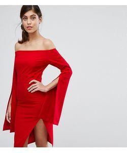 Dark Pink | Платье Миди Со Свободными Рукавами И Разрезом