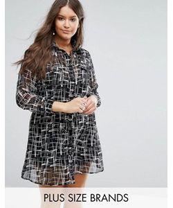 Koko   Платье-Рубашка С Монохромным Принтом Plus
