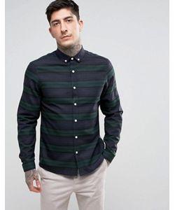 Asos | Зеленая Рубашка Стандартного Кроя С Полосками