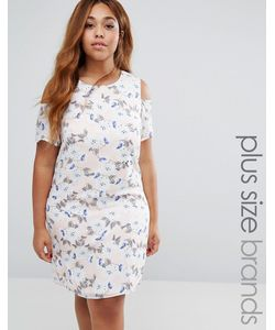 Koko | Plus Shift Dress With Cold Shoulder In Print
