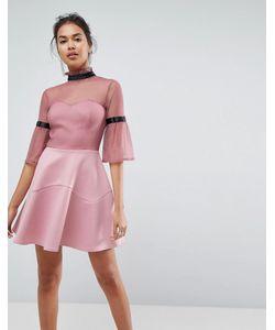 Asos   Короткое Приталенное Платье С Высоким Воротом И Расклешенными Рукавами